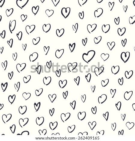 Seamless Hand Drawn Hearts Pattern. - stock vector