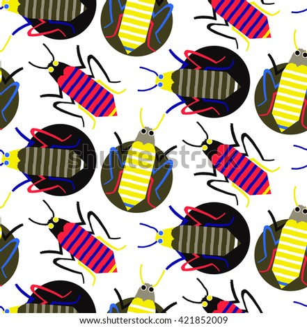 Seamless hand drawn insect bugs and creepy creatures. Background pattern in vector. Colorful interesting sketch - stock vector