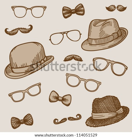 Seamless hand drawn pattern of vintage  bowler, fedoras, mustaches, eyeglasses and a bow ties (bright)- vector illustration. - stock vector