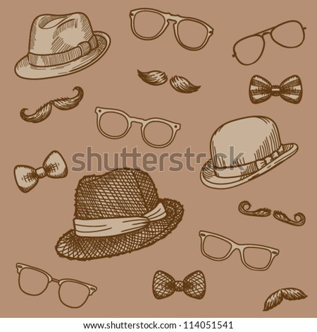 Seamless hand drawn pattern of vintage  bowler, fedoras, mustaches, eyeglasses and a bow ties (brown)- vector illustration. - stock vector