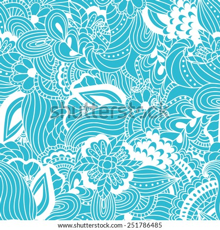 Seamless hand-drawn pattern with abstract and floral elements. Background can be used for web, textile or wrapping.