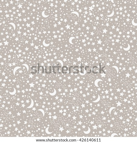 Seamless hand drawn pattern with night sky with stars and moons. Boho style ornament. Repetition background for textiles , wrapping paper or wallpapers. Isolated vector illustration. - stock vector