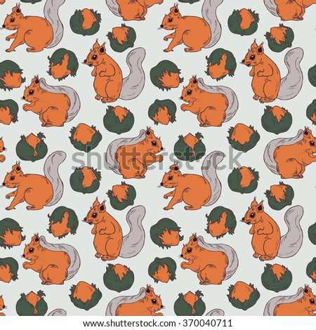 Seamless hand drawn squirrel and nut pattern in vector - stock vector