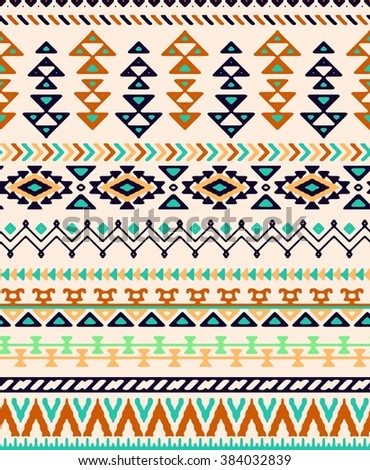 Seamless hand drawn stripes pattern with ethnic and tribal ornament. Vector black and white fashion illustration. - stock vector