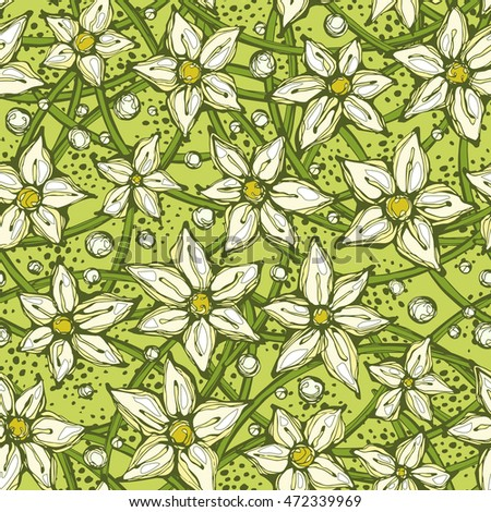 Seamless hand-drawn summer green pattern. Flowers stems and leaves. Can be used for wallpaper, pattern fills, web page background, surface textures. Style of children's drawings.