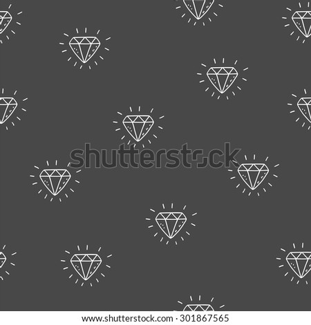 Seamless hand drawn vector background - diamond pattern - stock vector