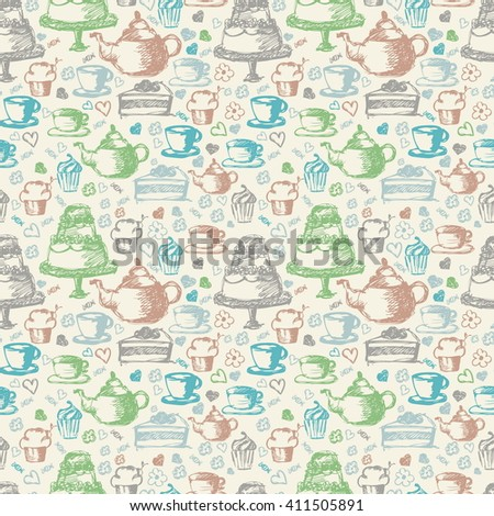 Seamless hand written pattern for tea time theme. With tea, cup, cake, and candy. Vector illustration - stock vector