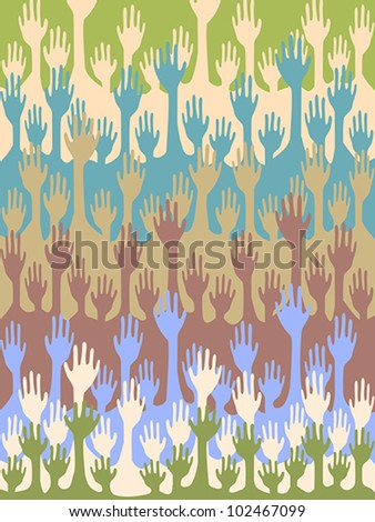 Seamless hands background - stock vector