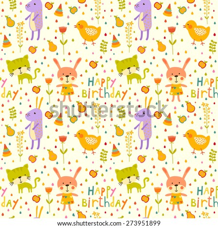 Seamless happy birthday baby background with cat, chicken and rabbit on white