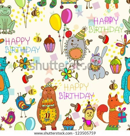 Seamless Happy birthday background, funny cartoon set with mouse, fox, bear, wolf, frog, hedgehog and hare, vector - stock vector