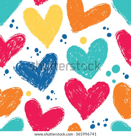 Seamless heart background in pretty colors. Great for Baby, Valentine's Day, Mother's Day, wedding, scrapbook, surface textures. - stock vector