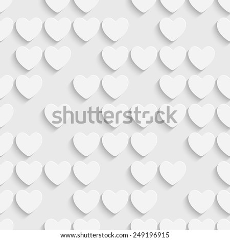 Seamless Heart Pattern. Vector Soft Background. Regular White Texture - stock vector