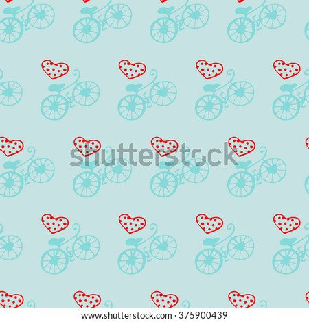 Seamless heart texture and bicycles on a blue background - stock vector
