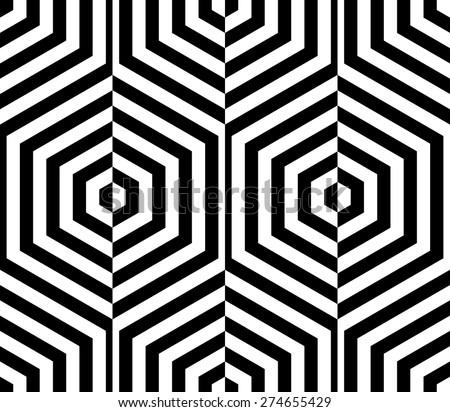 Seamless Hexagon Pattern. Vector Monochrome Background - stock vector