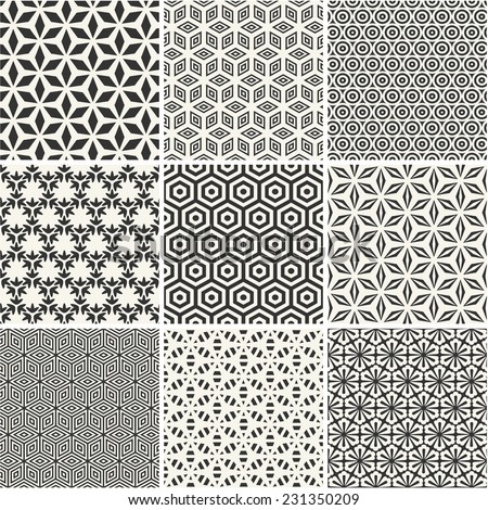 Seamless hexagons patterns collection