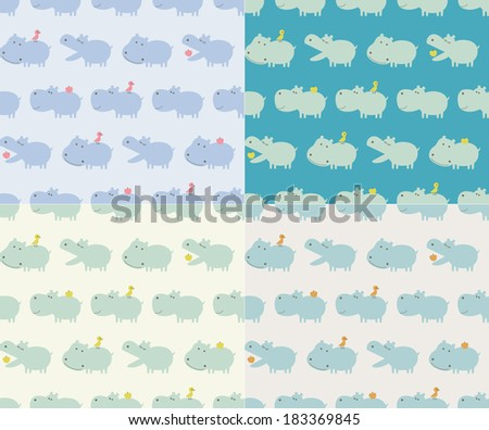 seamless hippo animal cartoon - stock vector