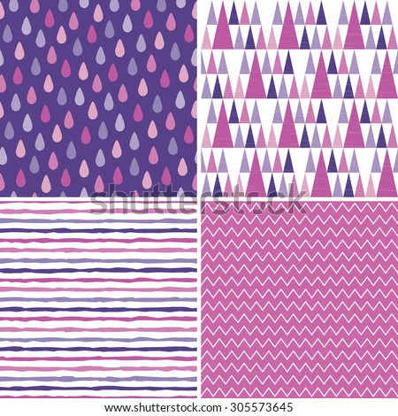 Seamless hipster background patterns in purple, white, magenta and pink. Hand drawn raindrops and stripes, triangle teepee pattern, chevron stripes for kids, textiles, wallpapers, gift wrapping paper. - stock vector