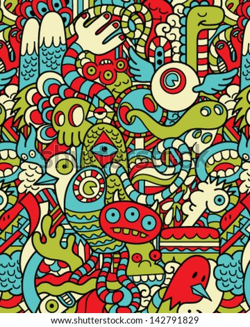 Seamless Hipster Doodle Monster Collage Pattern - stock vector