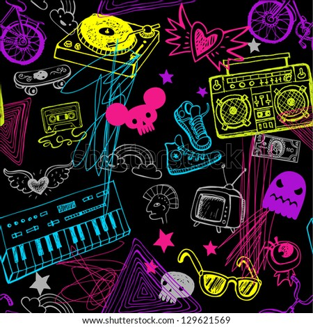 Seamless hipsters background - stock vector