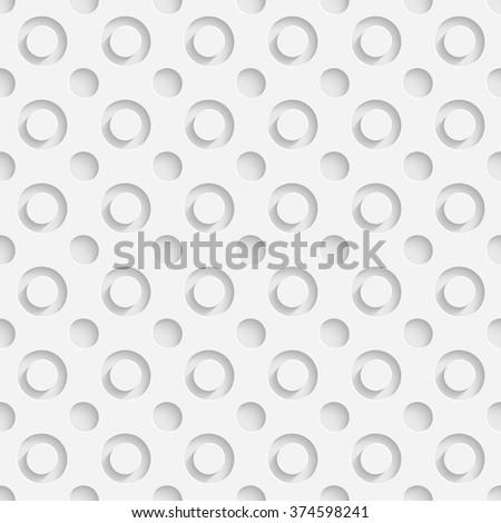 Seamless Hole Pattern. Vector Soft Background. Regular White Texture - stock vector
