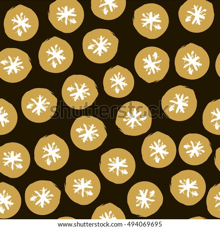 Seamless Holiday hand drawn pattern with snowflakes. Vector Illustration