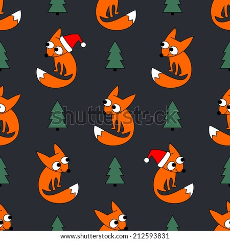 Seamless holidays theme  fox forest and  christmas tree background pattern in vector. Cute little foxy in christmas cap on dark grey background. - stock vector