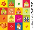 seamless home kid pattern house illustration in vector - stock vector