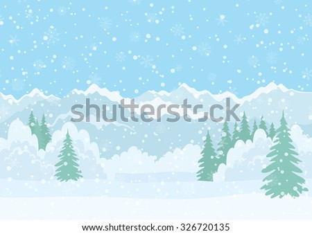 Seamless Horizontal Background, Christmas Holiday Landscape with Snowy Sky, Fir Trees, Snowdrifts and Far Mountains in the Distance. Eps10, Contains Transparencies. Vector - stock vector