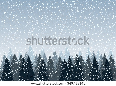Seamless horizontal background, holiday trees against the blue sky with snow, vector