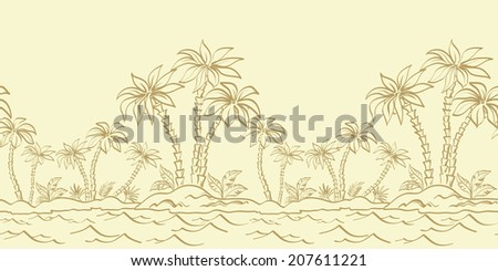 Seamless horizontal background, tropical landscape, Sea Island with palm trees and grass contours. Vector - stock vector