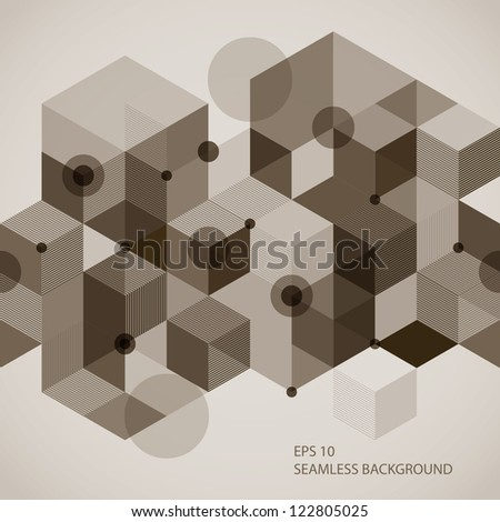 Seamless horizontal background with 3d elements, vector illustration. - stock vector