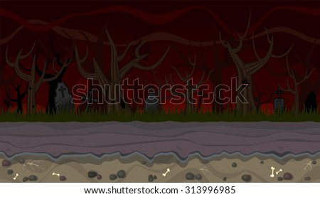 Seamless horizontal background with trees and graves for game - stock vector