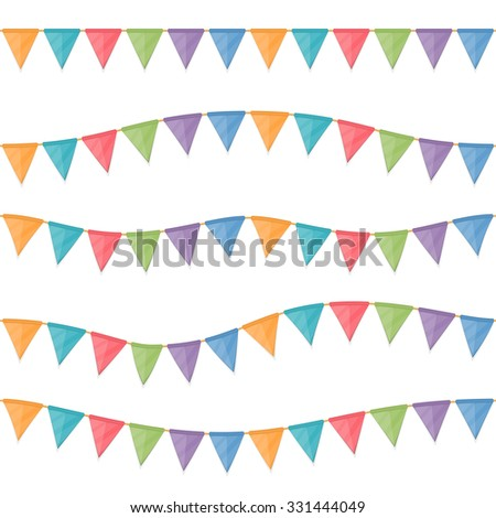 Seamless horizontal colored garland flags hanging on the rope, vector eps10 illustration - stock vector