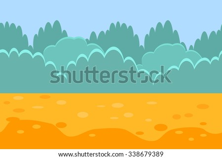 Seamless Horizontal Landscape for a Game, Bushes and Sand. Vector Illustration - stock vector