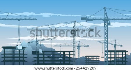Seamless horizontal pattern with building yard and cranes. - stock vector