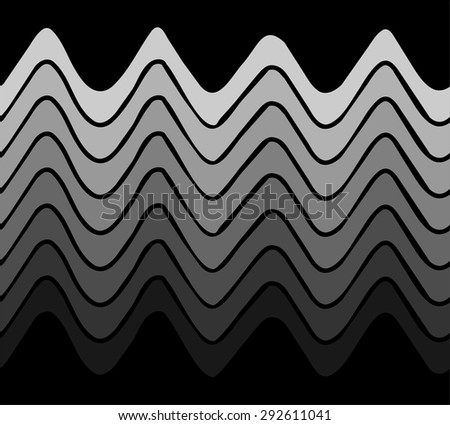 Seamless horizontal pattern with stylized waves - stock vector