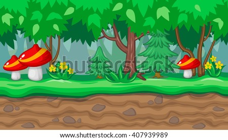 Seamless horizontal summer background with big red mushrooms and fir trees for video game - stock vector
