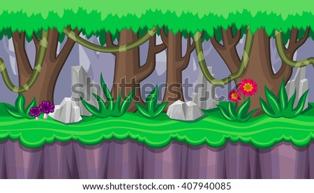Seamless horizontal summer background with purple mushrooms and rocks for video game - stock vector