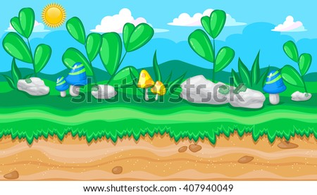 Seamless horizontal summer background with white stones and blue mushrooms for video game - stock vector