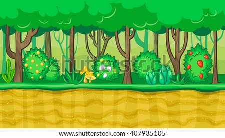 Seamless horizontal summer background with young trees and bushes with berries for video game - stock vector