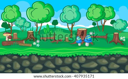 Seamless horizontal summer felling background with logs and stubs for video game - stock vector