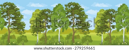 Seamless Horizontal Summer Landscape, Forest with Pines, Birches and Fir Trees, Flowers, Green Grass and Blue Sky with Clouds. Vector - stock vector