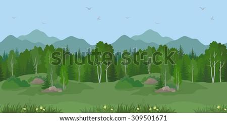 Seamless Horizontal Summer Mountain Landscape with Birch and Fir Trees, Green Grass under a Blue Sky with Birds. Vector - stock vector