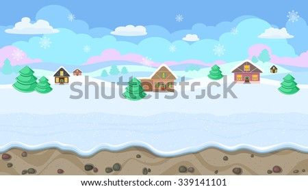 Seamless horizontal winter background with hills and houses for Christmas game - stock vector