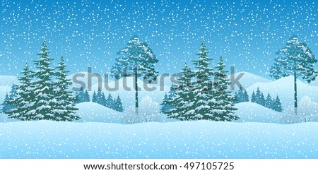 Seamless Horizontal Winter Christmas Mountain Woodland Landscape with Coniferous Trees and Snowflakes. Eps10, Contains Transparencies. Vector