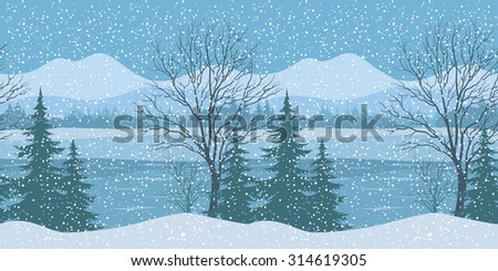 Seamless Horizontal Winter Christmas Mountain Woodland Landscape with River, Trees Silhouettes and Snowflakes. Vector