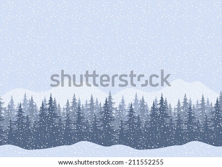 Seamless horizontal winter mountain landscape with fir trees and snow, silhouettes. Vector - stock vector