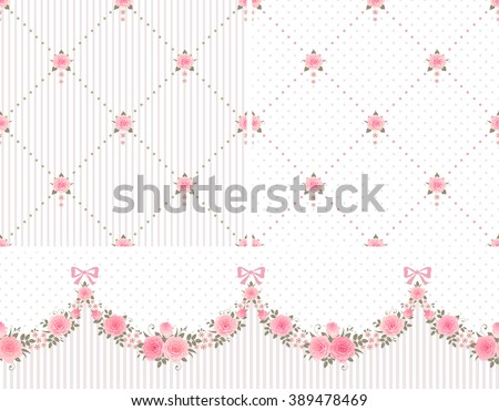 Seamless horizontally pattern with garlands of roses and two rhombus vintage backgrounds. Vector floral set. - stock vector