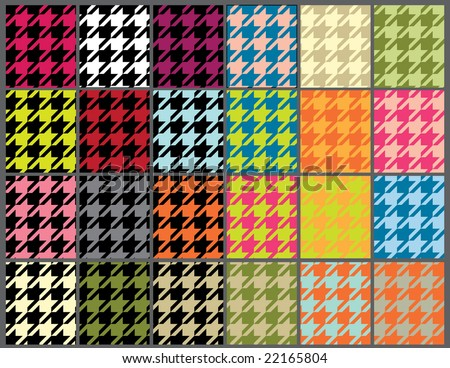 seamless houndstooth background set - stock vector