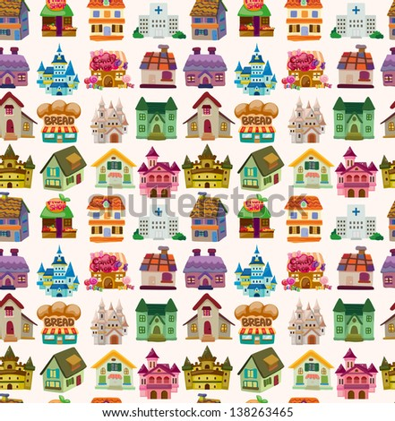 seamless house pattern - stock vector